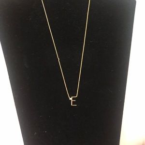 Anthropologie monogram gold necklace. Initial E